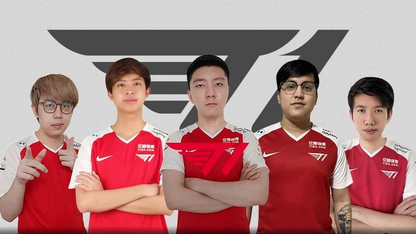 T1 Dota 2 players posing arms corssed
