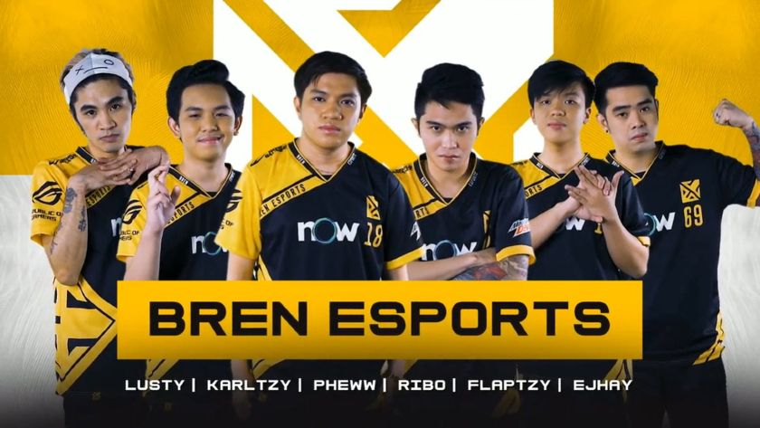 Bren Esports team posing in front of logo