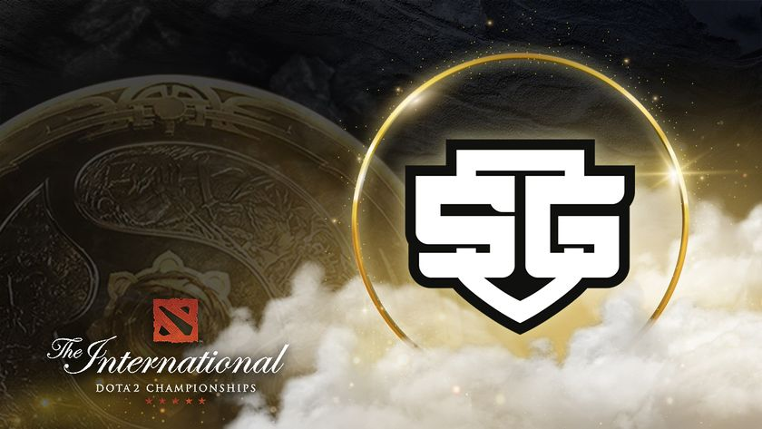 SG esports logo with The International 10 Aegis on the background