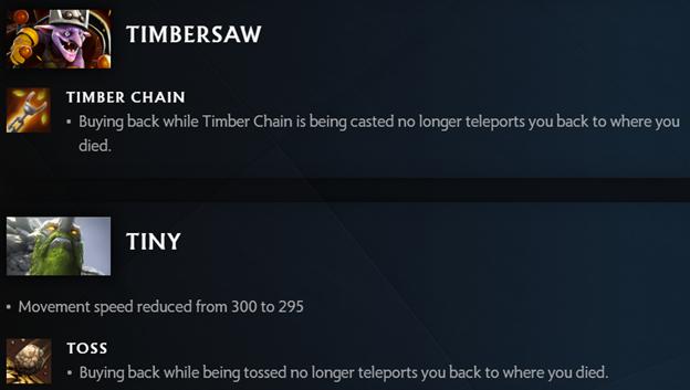 Изменения Timbersaw и Tiny в 7.29d