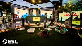 ESL One studio setup showing a summer theme