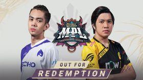 Echo and Bren players standing around MPL PH S8 logo