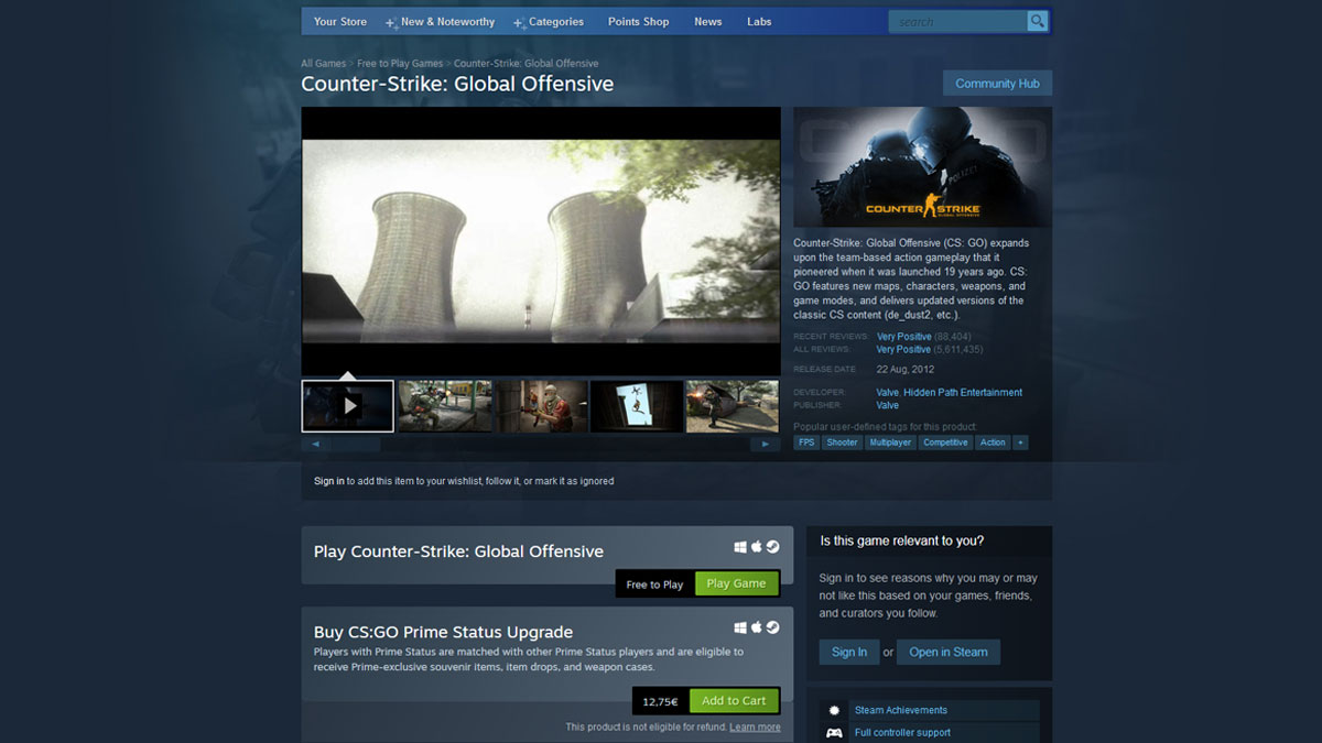 Screenshot of CSGO page on Steam