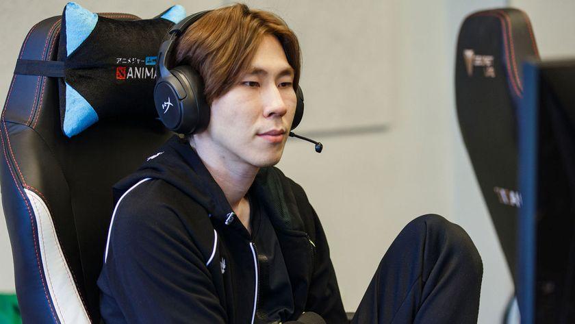 Torontotokyo of Team Spirit sitting on a gaming chair