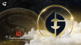 Evil geniuses logo with the Aegis and The International 10 logo on a  golden background