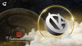 Vici gaming logo with  the TI10 Aegis on the background