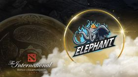 Elephant Dota 2 team and The International 10 logos