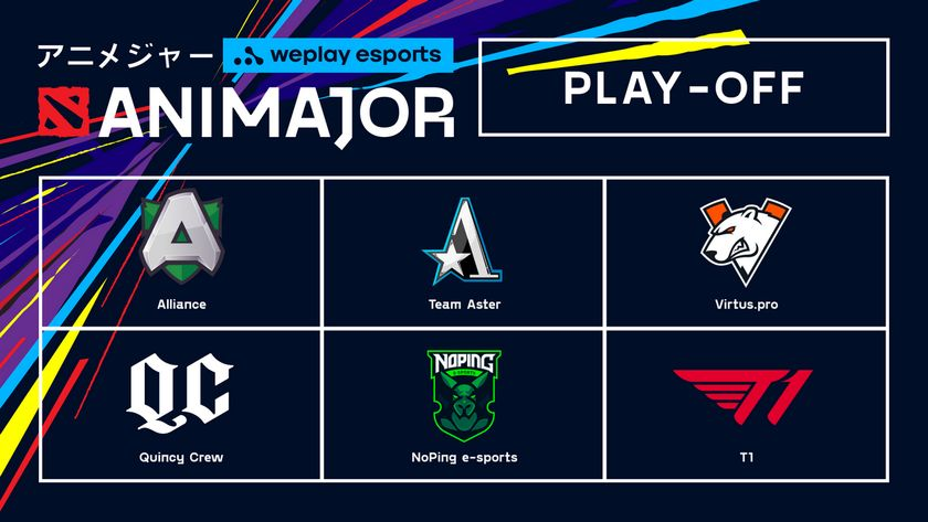 AniMajor card displaying logos of  the six teams in the playoffs