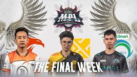 P-God, Lusty and Ch4knu in front of the MPL Banner with The Final Week VC