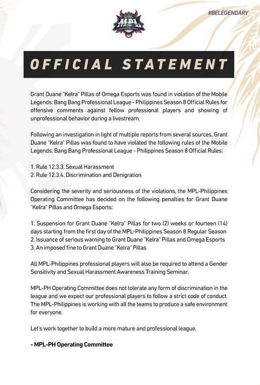 MPL-PH Kelra suspension statement