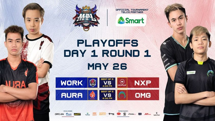 MPL - PH S7 playoffs - 4 players standing cross armed, either side of the schedule