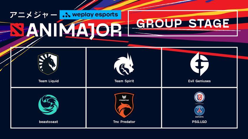AniMajor card displaying logos of group stage teams