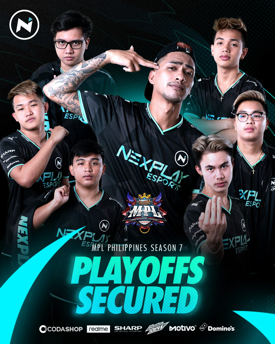 Nexplay Esports team in different poses - playoffs secured
