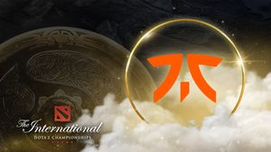 Fnatic crest with the The International logo and the Aegis on the background