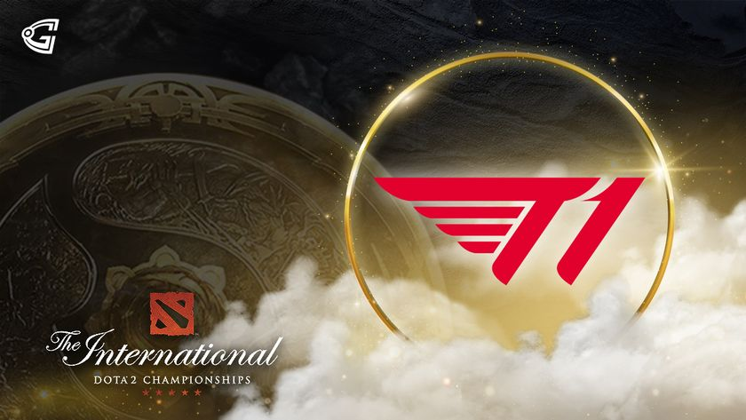 T1 Logo with The Aegis of Champions and The International logo