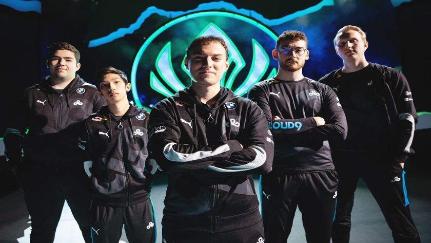 Cloud9 League of Legends players posing arms crossed