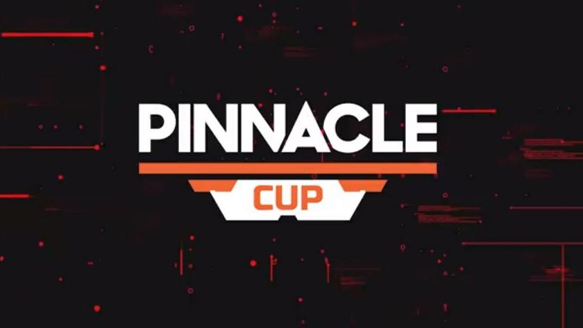 brown and red cup with Pinnacle Cup logo in white and orange