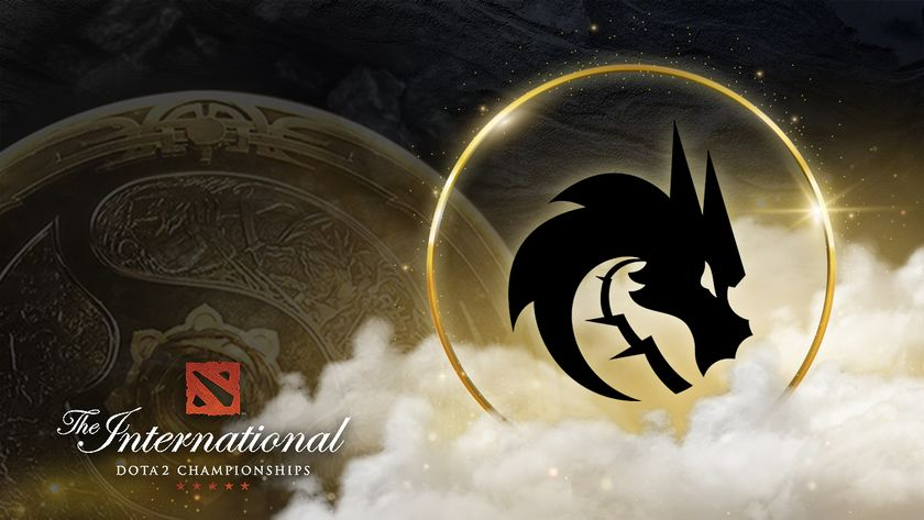Team Spirit crest with TI10 logo and the Aegis on the background